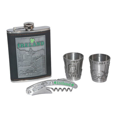 Ireland Collage Hip Flask Gift Set With Shot Glasses And Bottle Opener