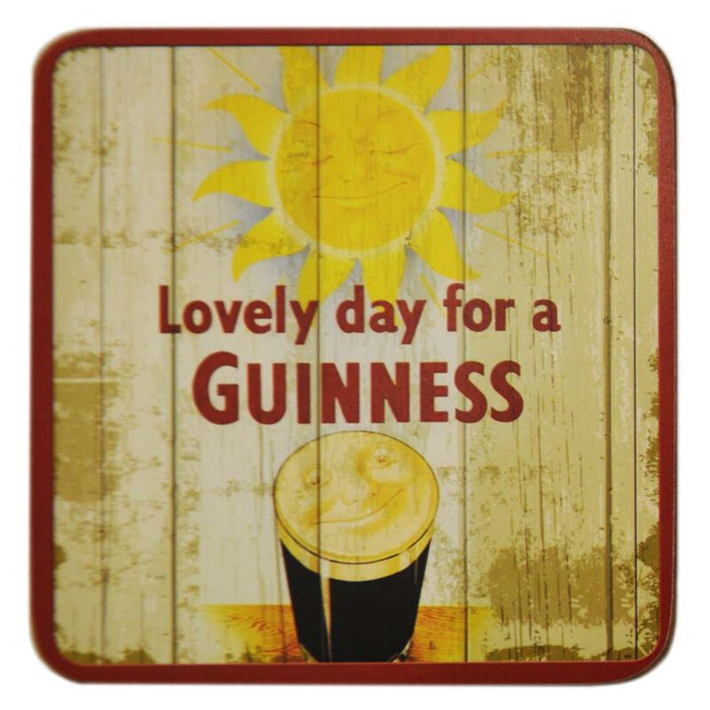 Nostalgic Guinness Coaster With Smiling Pint And Smiling Sun Design