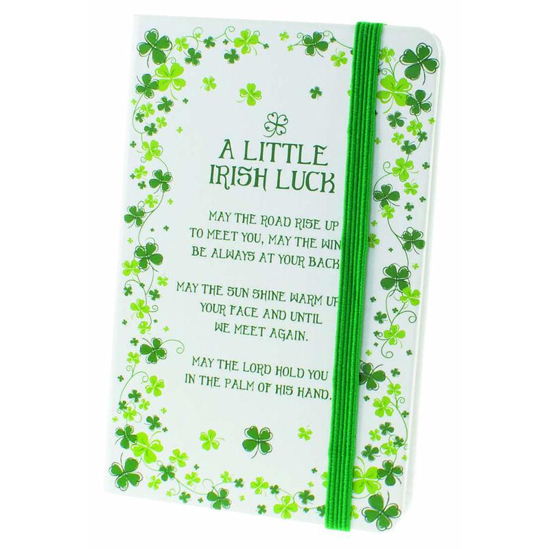 Clover Designed Moleskin Notebook With Irish Luck Blessing