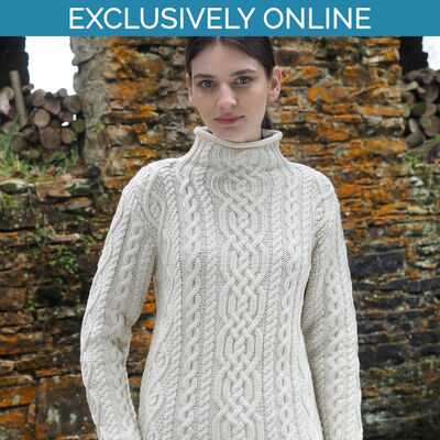West End Knitwear Natural Colour Kylemore Super Soft Funnel Neck Aran Sweater