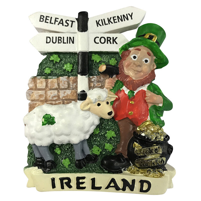 Resin Magnet With Leprechaun  Sheep And Road Sign
