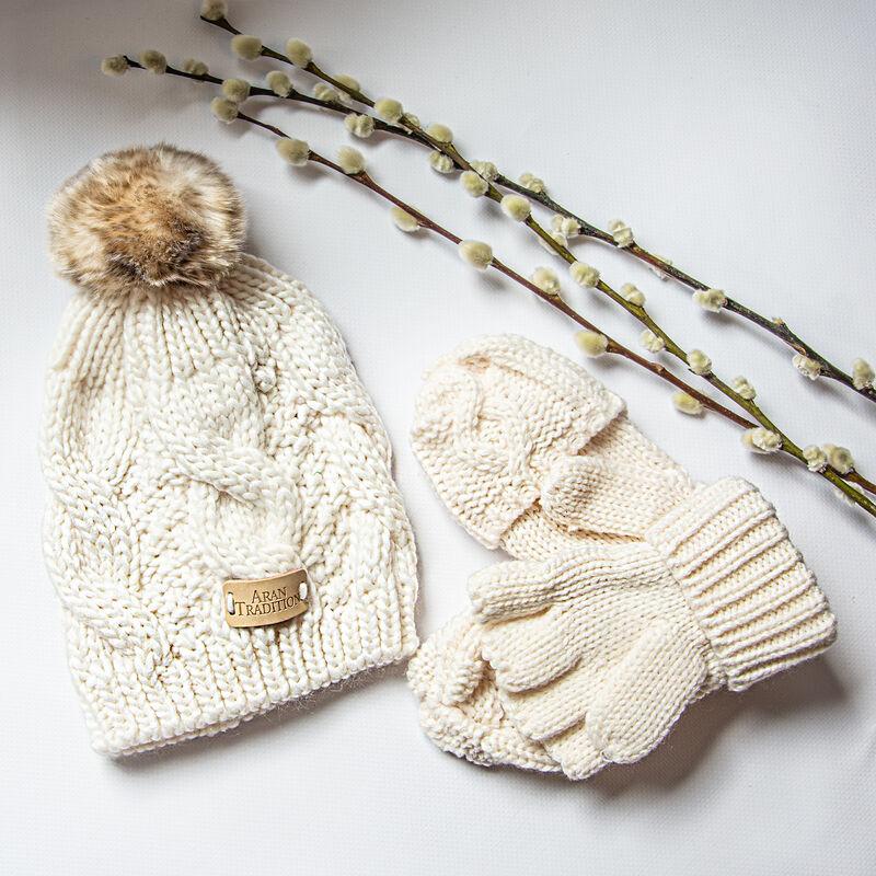 Junior Aran Mittens & Hat Bundle, Cream Colour