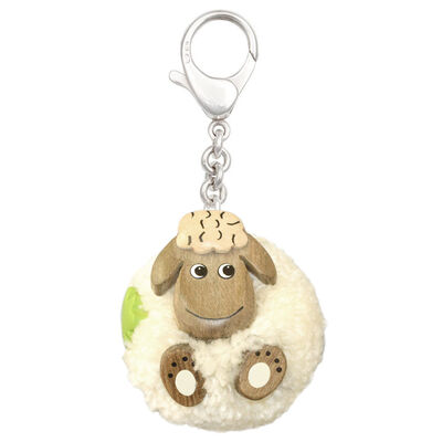 White Fluffy Sheep With Shamrock Handmade Natural Wood Keychain