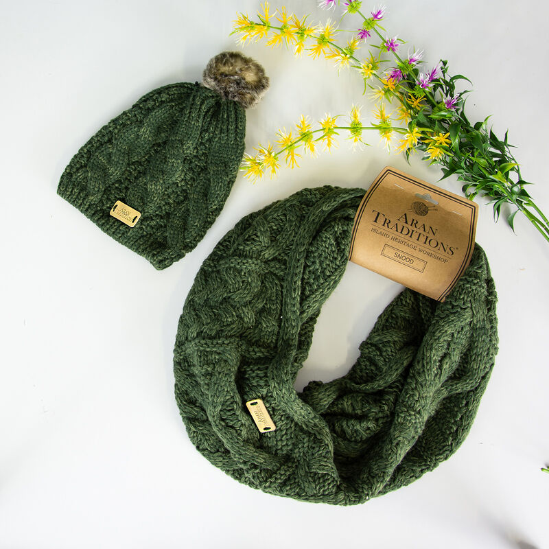 Aran Traditions Knitted Snood & Tammy Hat Set, Green Colour