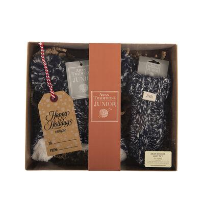 Aran Traditions Junior Gift Set -Slub Mix Super Soft Lined Pom Pom Hat & Mittens, Navy Colour