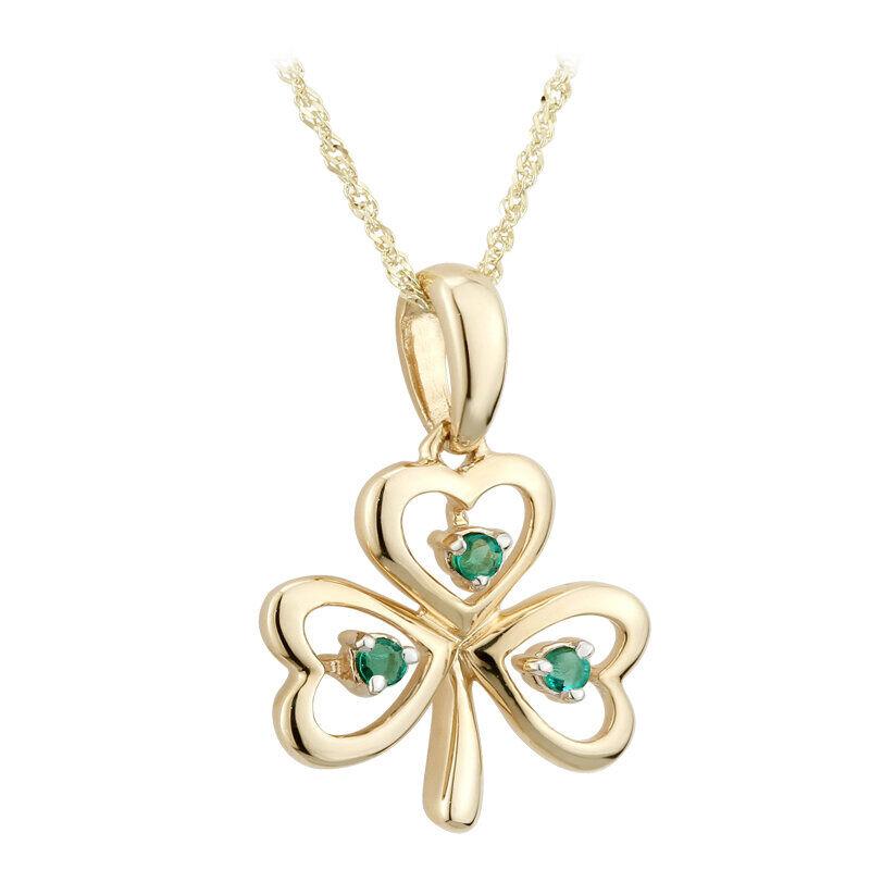 9K Gold Emerald Shamrock Pendant