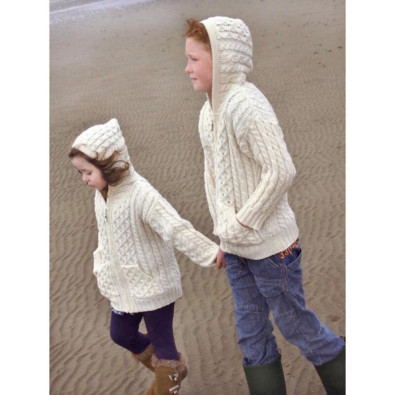 100% Merino Wool Aran Crafts Hooded Zip Cardigan With Pockets Ecru
