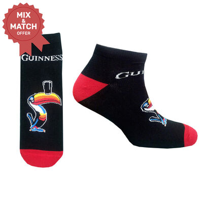 Guinness Toucan Trainer Socks With White Guinness Text Black And Red Colour
