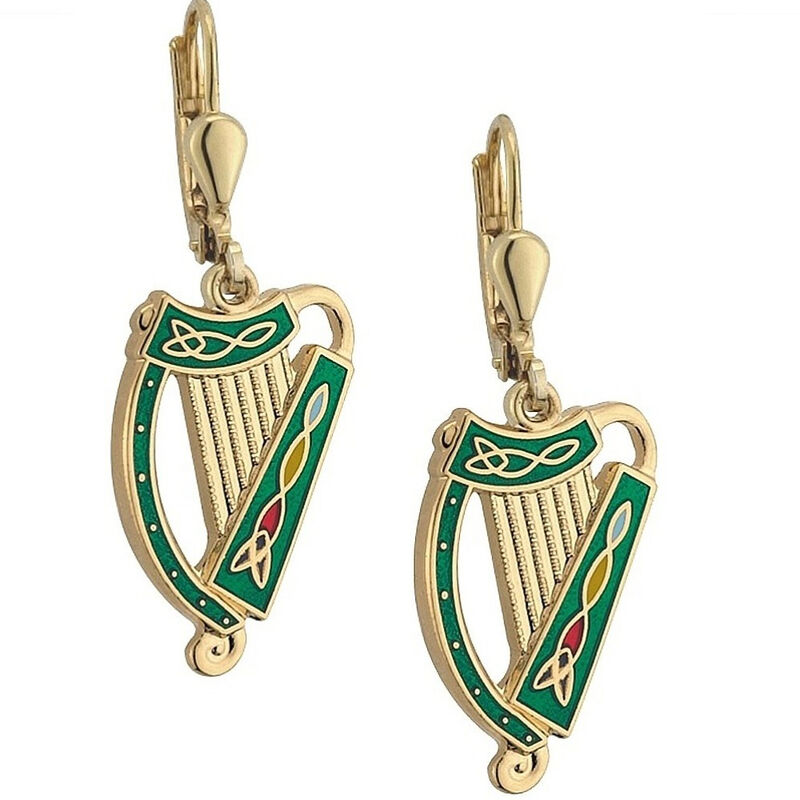 Gold Plated Green And Gold Irish Harp Celtic Designed Earrings