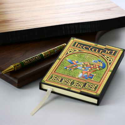 Celtic Peacock Designed Notebook and Pen Set