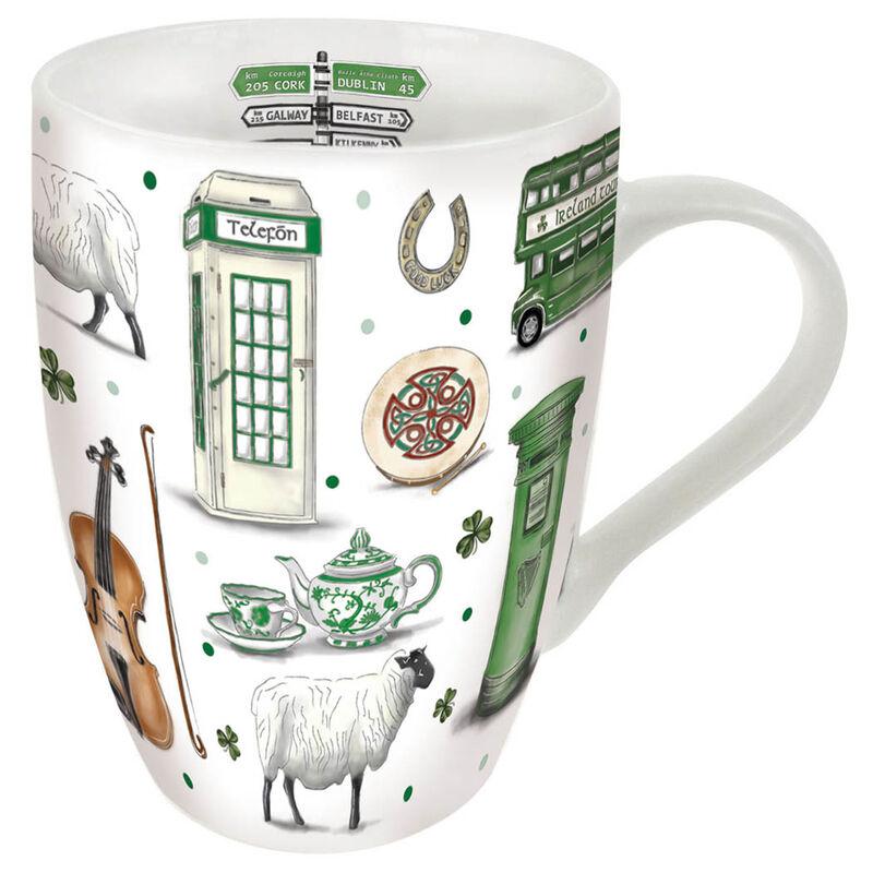 Impressions Of Ireland White Ceramic Tulip Mug With Irish Scenes Design