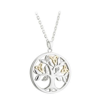 Hallmarked Sterling Silver & 10 Carat Gold Diamond Tree of Life Pendant