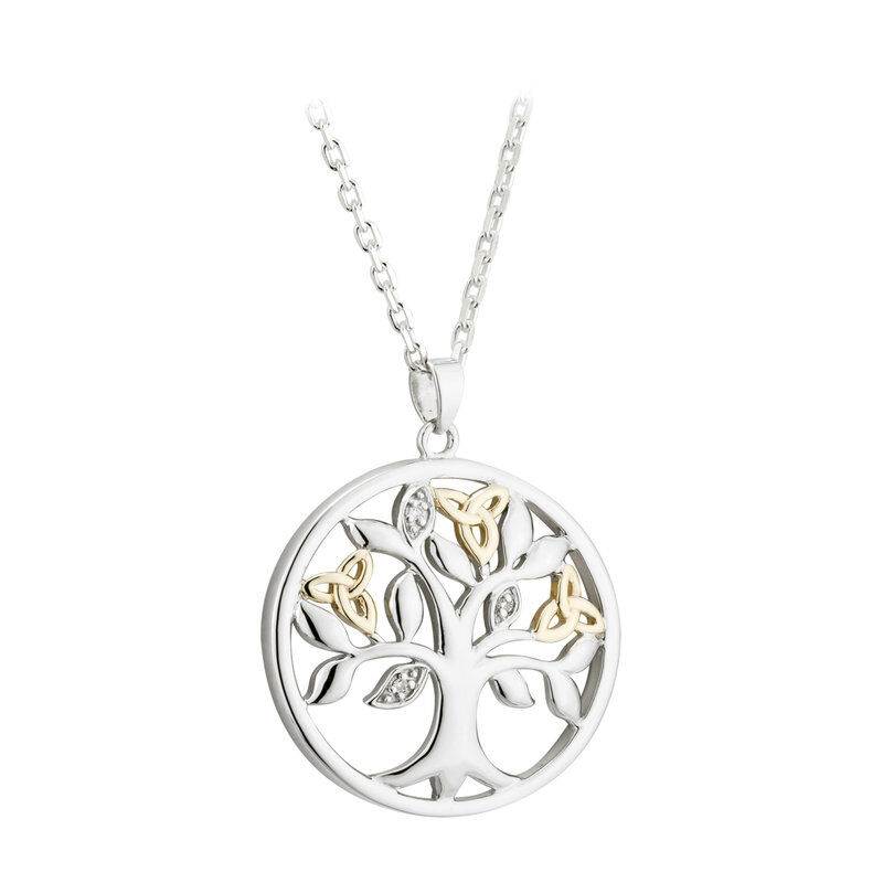 Hallmarked Sterling Silver & 10 Carat Gold Diamond Tree of Life Pendant