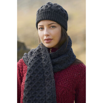 100% Merino Wool Honeycomb Knitted Hat & Scarf Set, Charcoal Colour