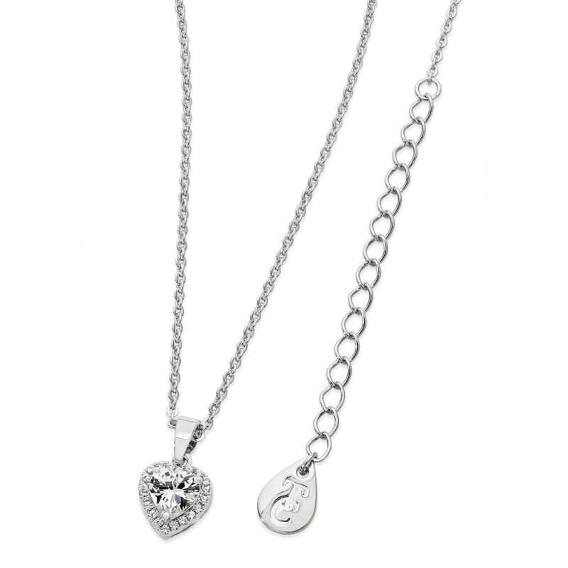 Tipperary Crystal Silver Plated Diamante Heart Drop Pendant