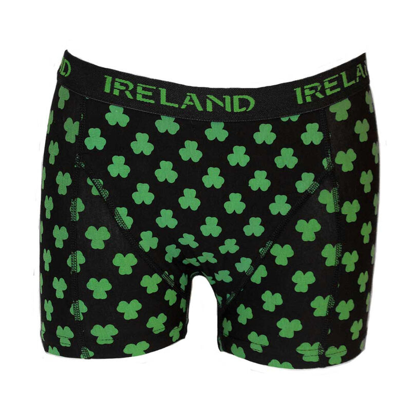 Ireland Boxer Shorts With Multi-Shamrock Print  Black Colour