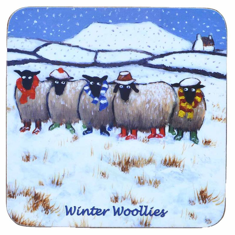 """Irish Coaster With Five Sheep With Hats And Scarves And Text """"Winter Woollies"""""""