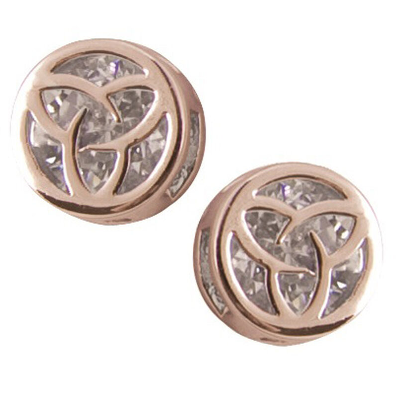 Rose Gold Plated Round Earrings With Trinity Knot Shaped Cubic Zirconia Stone