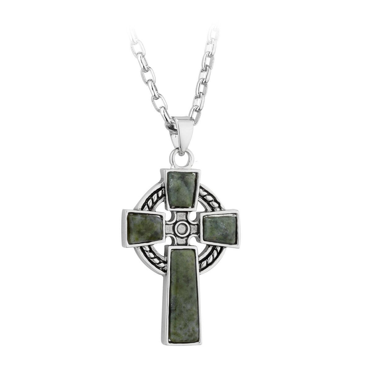Shamrock Cross Kette Keltisches Kreuz irischer Schmuck aus Silber /& Kristall
