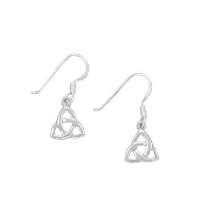 Hallmarked Sterling Silver Trinity Knot Drop Earrings Presented In A Box