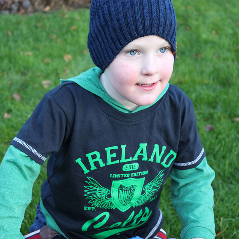 Ireland Kids T-Shirt With Limited Edition Harp Design Navy Colour