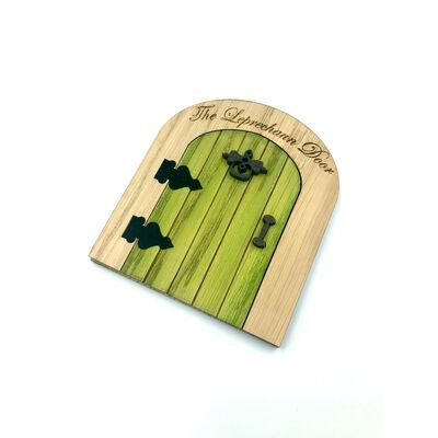 The Irish Folklore Collection Green Wooden Leprechaun Fairy Door