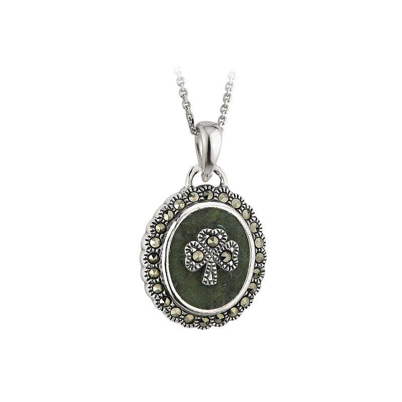 Hallmarked Sterling Silver Marcasite Shamrock Connemara Marble Pendant