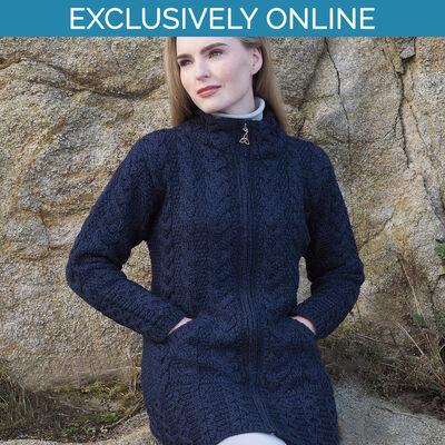 West End Knitwear Midnight Colour Cork Long Zip Coat 100% Merino Wool