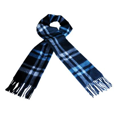Carrolls Irish Designs Wool Scarf With Blue  Navy and Grey Design 12
