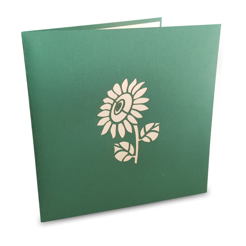 Pop-up Card Green Colour with Sunflower Design