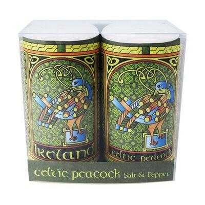 Celtic Peacock Ireland Salt and Pepper Shaker With A Coloured Trinity Irish Design