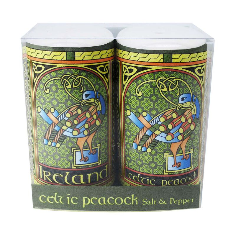 Celtic Peacock Ireland Salt and Pepper Shaker With A Coloured Trinity Irish Design
