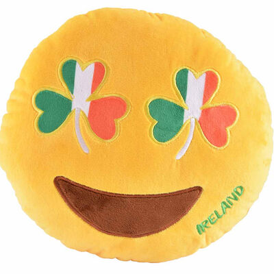 Plush Irish Designed Cushion With Tri Colour Shamrock Smiling Emoji Face