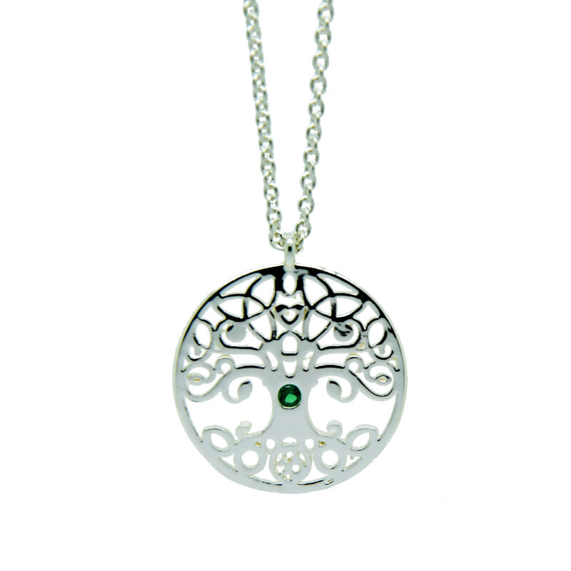 Sliver Plated Tree of Life Pendant With Emerald Cubic Zirconia