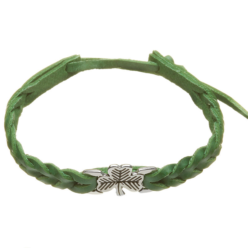 Green Leather Plaited Wristband with a Flat Silver and Black Shamrock Charm