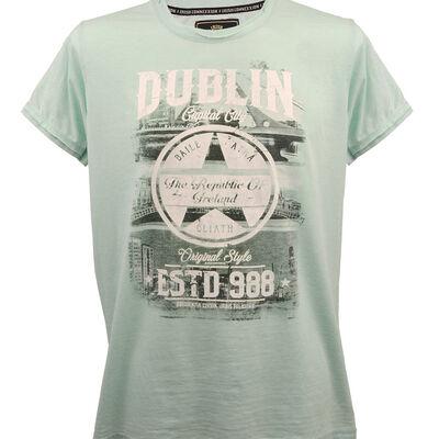 Dublin Est 988 T-Shirt With Star Print  Mist Green Colour