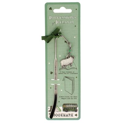 Impressions Of Ireland White And Green Metal Bookmark With Sheep Charm