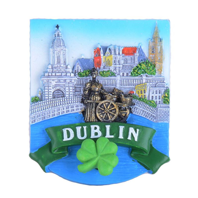 Ceramic Magnet With Landmarks Of Dublin And Shamrock