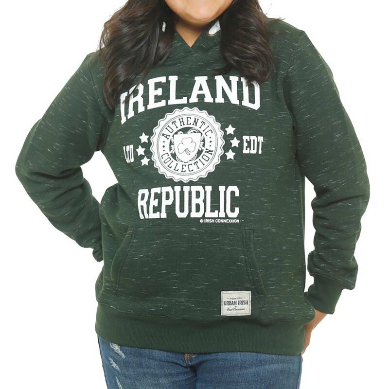 Kids Pullover Hoodie With Ireland Stamp Stars Print  Forest Green Colour