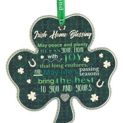 Shamrock-Shaped Ceramic Plaque With Traditional Irish Proverb