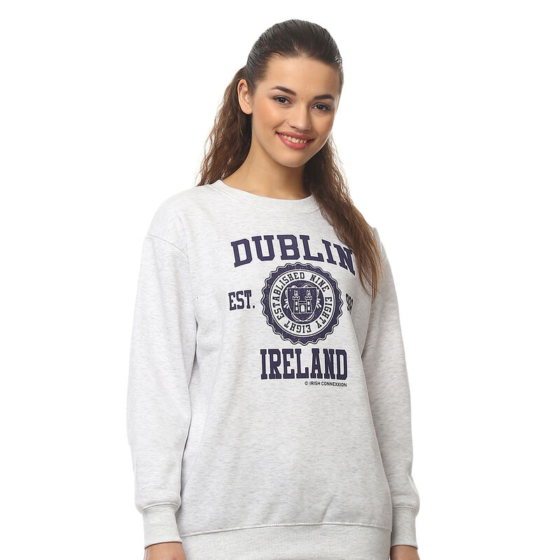 Pullover Sweater Varsity Style Dublin Print  Ash Grey Colour