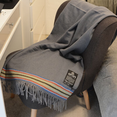 Aran Woollen Mills Authentic Gray 100% Lambswool Crios Design Throw