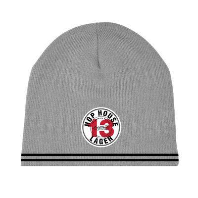 Official Guinness Grey Beanie Hat With Hop House 13 Lager Label Design