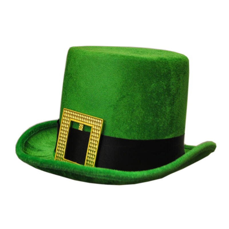 Velour Tall Green Leprechaun Designed Bowler Hat  Onesize Fits Most Hat Sizes