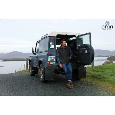 Lined Shetland Wool Aran Body Warmer, Charcoal Colour