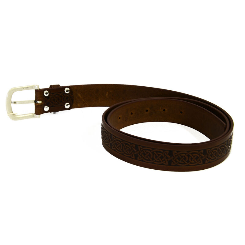 Lee River 35mm Genuine Brown Leather Belt With Intricate Celtic Design