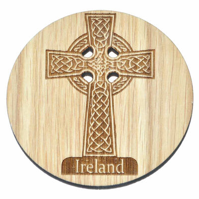 Irish Wooden Designed Coaster With Celtic Ireland High Cross Design