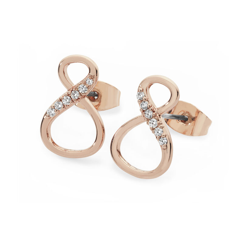 Tipperary Crystal Rose Gold 8 Shaped Infinity Knot Stud Earrings