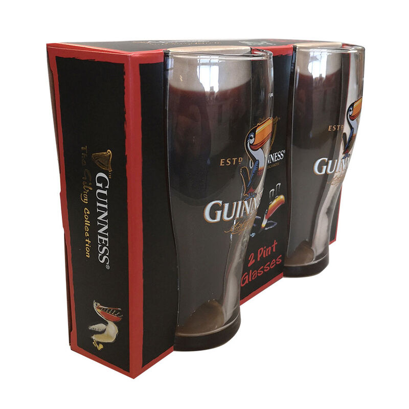 Official Guinness Two Pack Pint Glasses Classic Style With Toucan Design