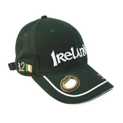 Bottle Opener Hat With Ireland Lettering and White Piping  Green